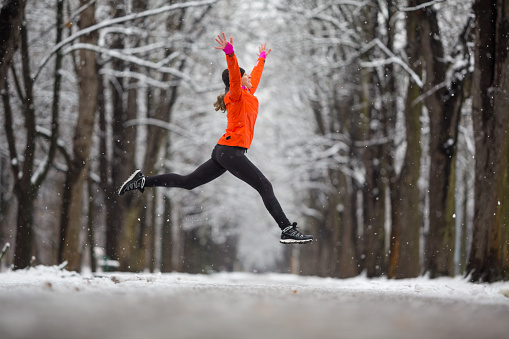 Woman getting fit in winter